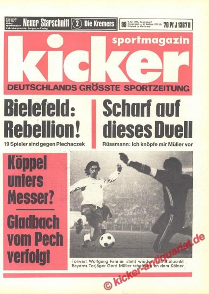 Kicker Sportmagazin Nr. 99, 9.12.1971 bis 15.12.1971