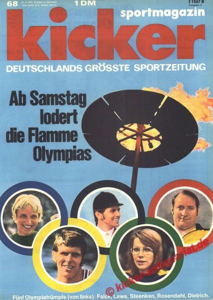 Kicker Sportmagazin Nr. 68, 21.8.1972 bis 27.8.1972
