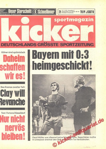Kicker Sportmagazin Nr. 21, 11.3.1971 bis 17.3.1971