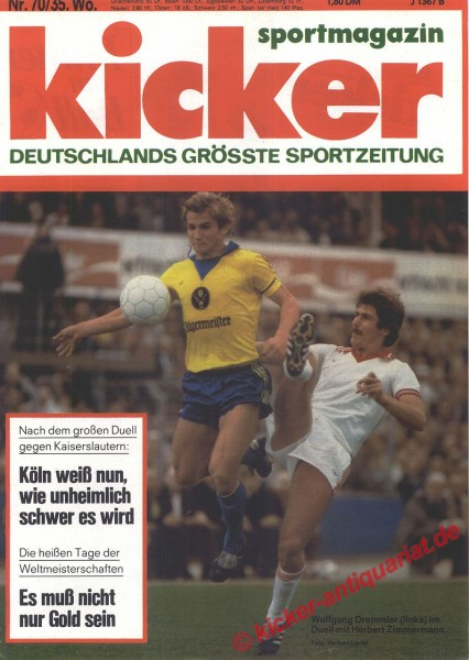 Kicker Sportmagazin Nr. 70, 28.8.1978 bis 3.9.1978