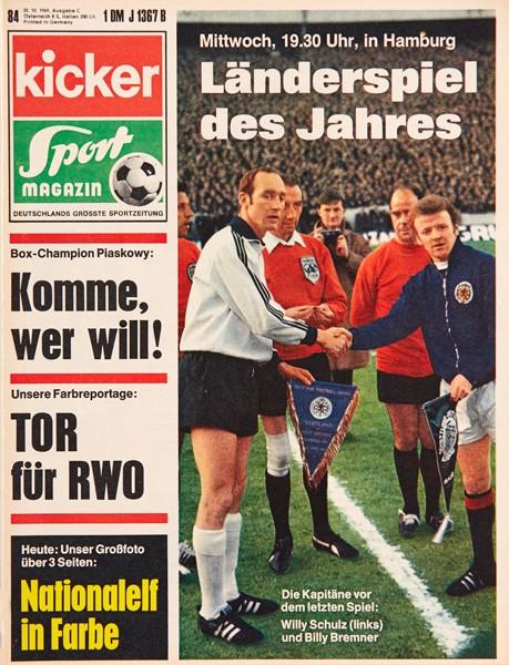 Kicker Sportmagazin Nr. 84, 20.10.1969 bis 26.10.1969