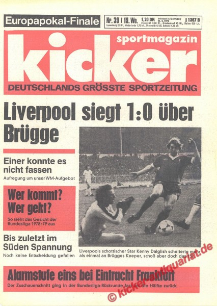 Kicker Sportmagazin Nr. 39, 11.5.1978 bis 17.5.1978