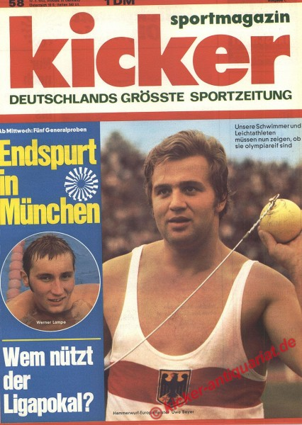 Kicker Sportmagazin Nr. 58, 17.7.1972 bis 23.7.1972
