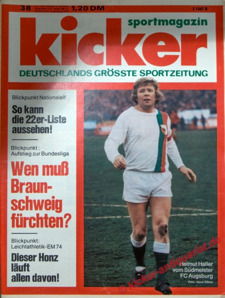 Kicker Sportmagazin Nr. 38, 6.5.1974 bis 12.5.1974