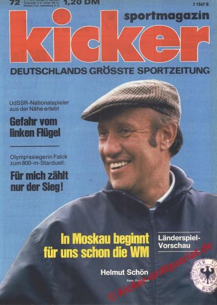 Kicker Sportmagazin Nr. 72, 3.9.1973 bis 9.9.1973