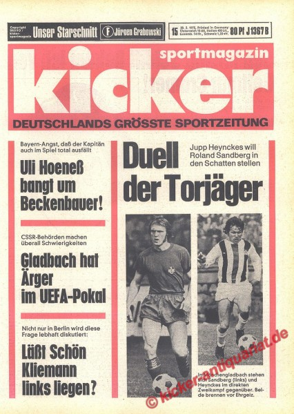Kicker Sportmagazin Nr. 15, 20.2.1975 bis 26.2.1975