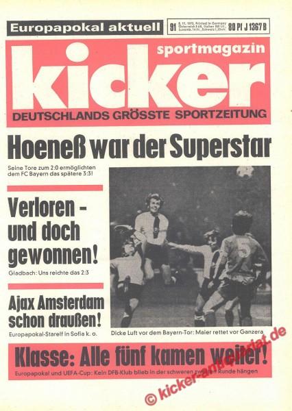 Kicker Sportmagazin Nr. 91, 8.11.1973 bis 14.11.1973