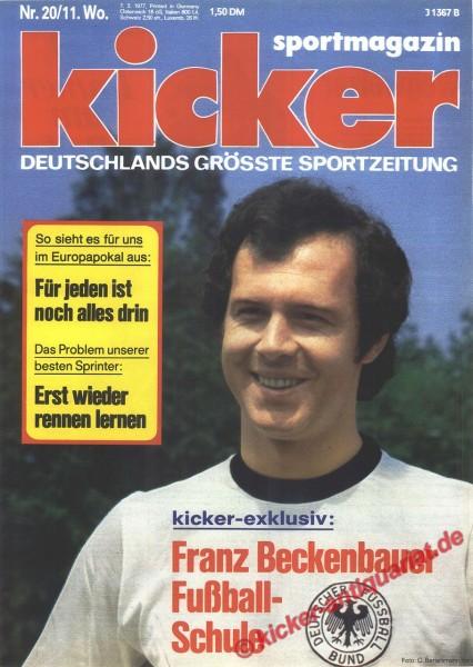 Kicker Sportmagazin Nr. 20, 7.3.1977 bis 13.3.1977