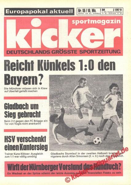 Kicker Sportmagazin Nr. 19, 3.3.1977 bis 9.3.1977