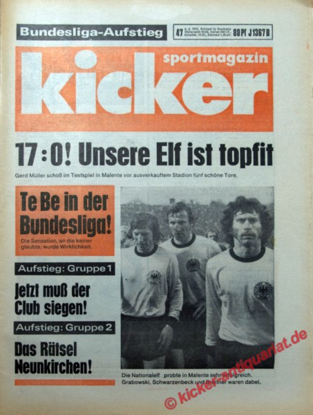 Kicker Sportmagazin Nr. 47, 6.6.1974 bis 12.6.1974
