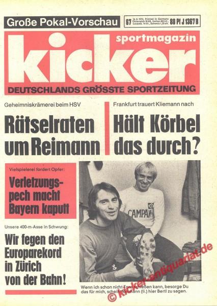 Kicker Sportmagazin Nr. 67, 16.8.1974 bis 22.8.1974