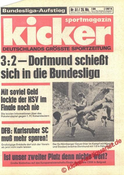Kicker Sportmagazin Nr. 51, 24.6.1976 bis 30.6.1976