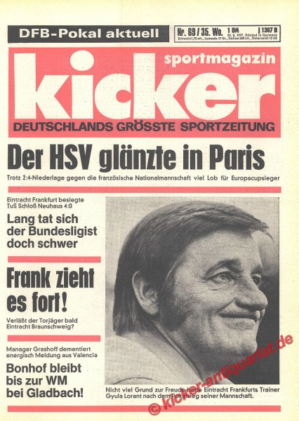 Kicker Sportmagazin Nr. 69, 25.8.1977 bis 31.8.1977