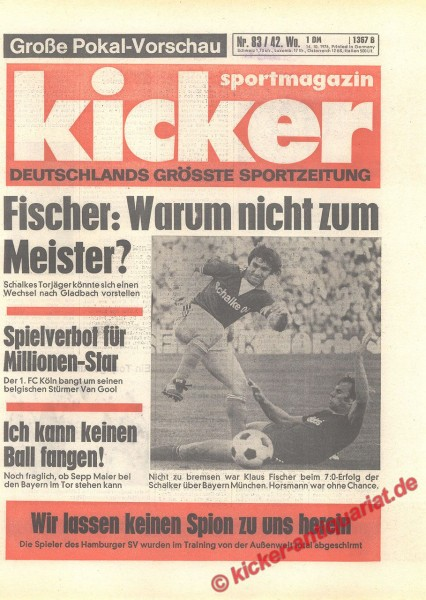 Kicker Sportmagazin Nr. 83, 14.10.1976 bis 20.10.1976