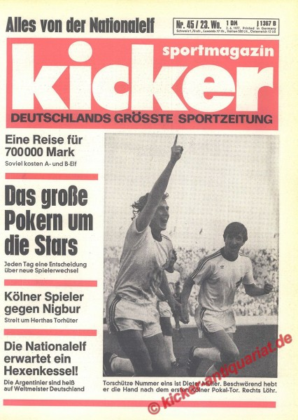 Kicker Sportmagazin Nr. 45, 2.6.1977 bis 8.6.1977