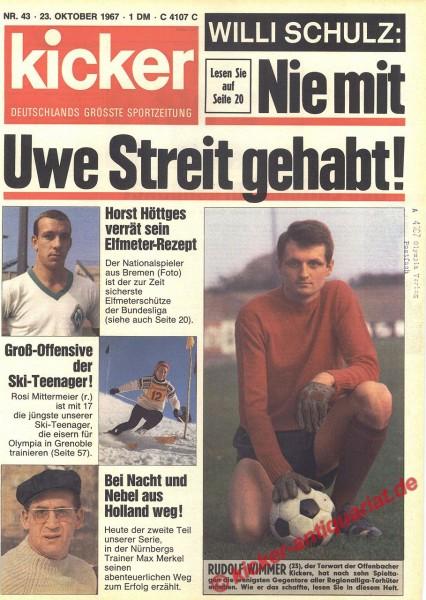 Kicker Sportmagazin Nr. 43, 23.10.1967 bis 29.10.1967