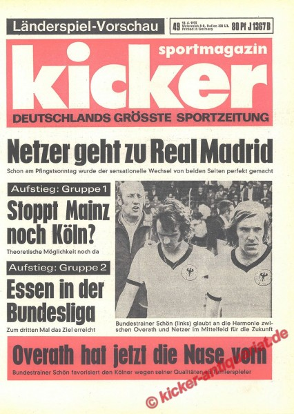 Kicker Sportmagazin Nr. 49, 14.6.1973 bis 20.6.1973