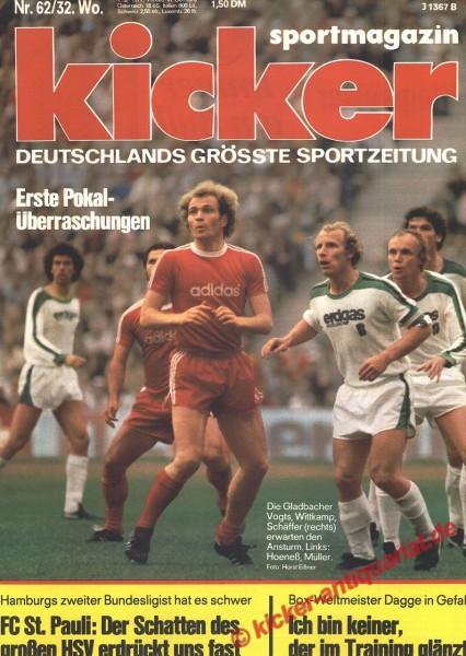 Kicker Sportmagazin Nr. 62, 1.8.1977 bis 7.8.1977