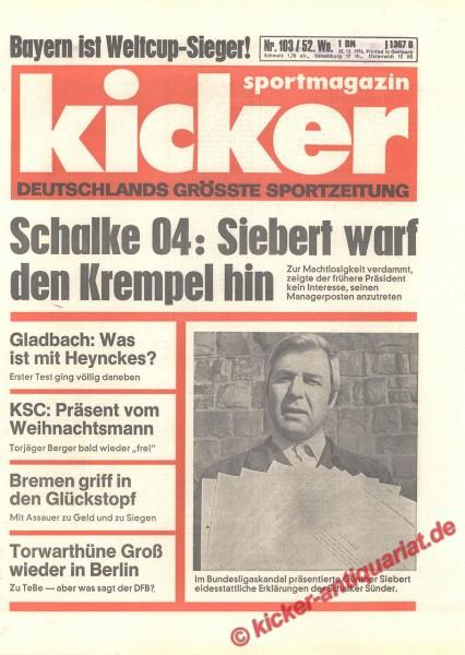 Kicker Sportmagazin Nr. 103, 23.12.1976 bis 29.12.1976