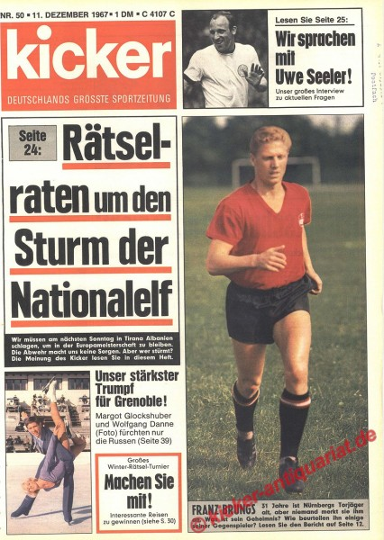 Kicker Sportmagazin Nr. 50, 11.12.1967 bis 17.12.1967