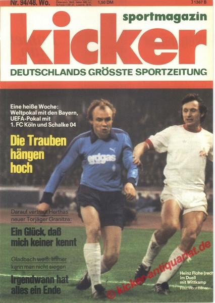 Kicker Sportmagazin Nr. 94, 22.11.1976 bis 28.11.1976