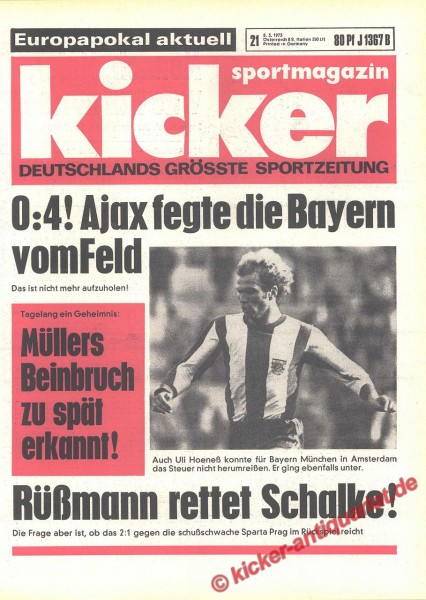 Kicker Sportmagazin Nr. 21, 8.3.1973 bis 14.3.1973