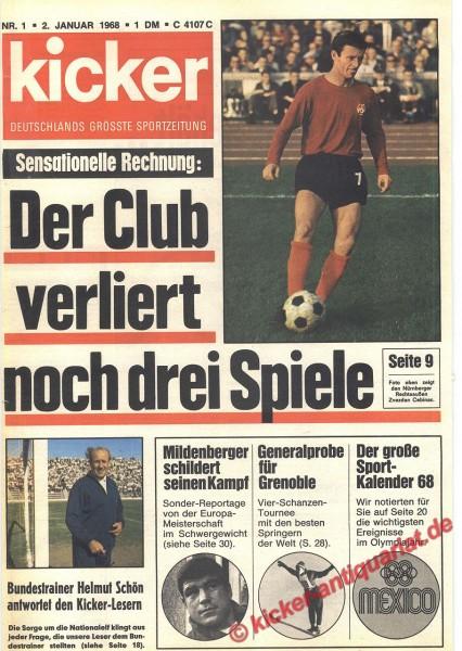 Kicker Sportmagazin Nr. 1, 2.1.1968 bis 8.1.1968