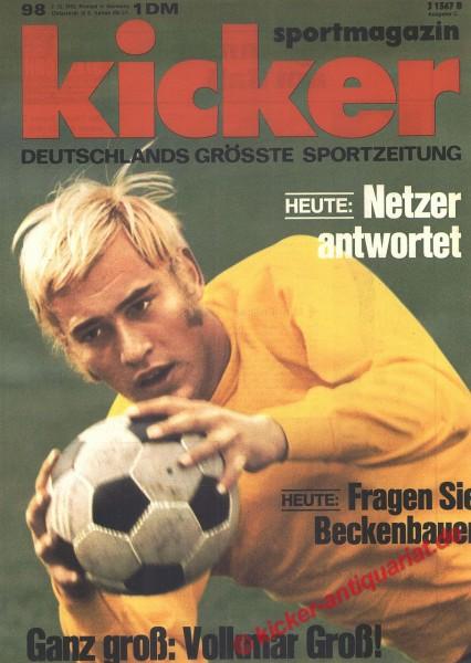 Kicker Sportmagazin Nr. 98, 7.12.1970 bis 13.12.1970