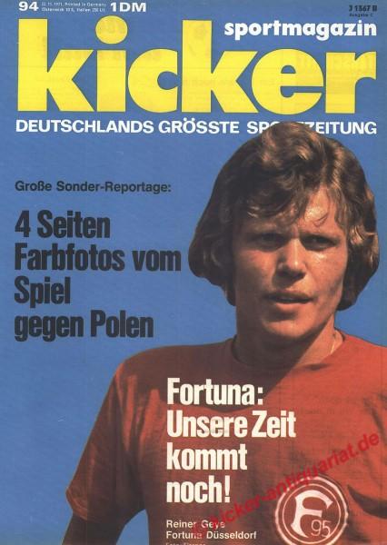 Kicker Sportmagazin Nr. 94, 22.11.1971 bis 28.11.1971
