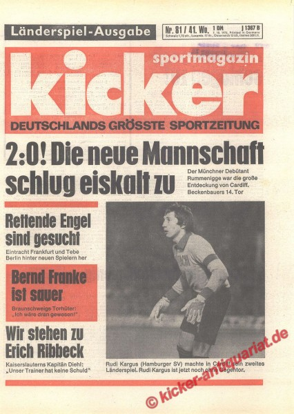 Kicker Sportmagazin Nr. 81, 7.10.1976 bis 13.10.1976