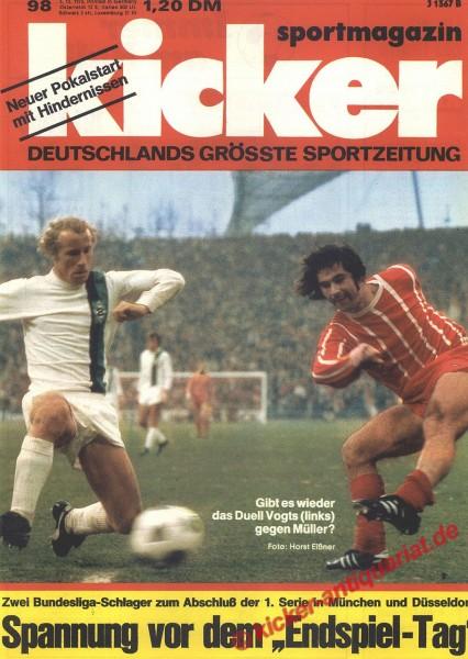 Kicker Sportmagazin Nr. 98, 3.12.1973 bis 9.12.1973