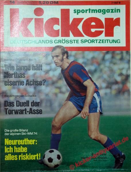 Kicker Sportmagazin Nr. 14, 11.2.1974 bis 17.2.1974