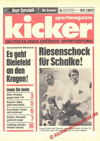 Kicker Sportmagazin Nr. 15, 17.2.1972 bis 23.2.1972