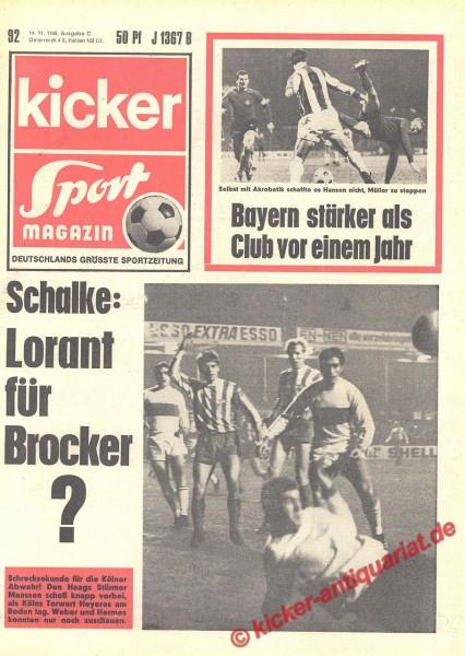 Kicker Sportmagazin Nr. 92, 14.11.1968 bis 20.11.1968
