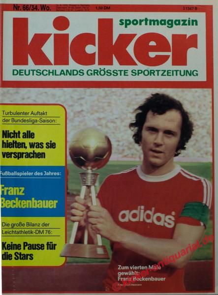 Kicker Sportmagazin Nr. 66, 16.8.1976 bis 22.8.1976