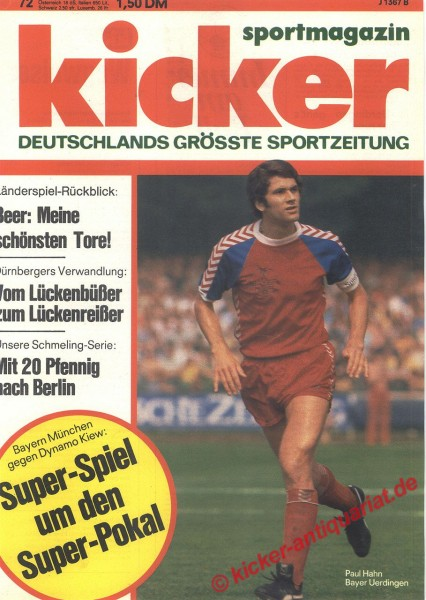 Kicker Sportmagazin Nr. 72, 8.9.1975 bis 14.9.1975