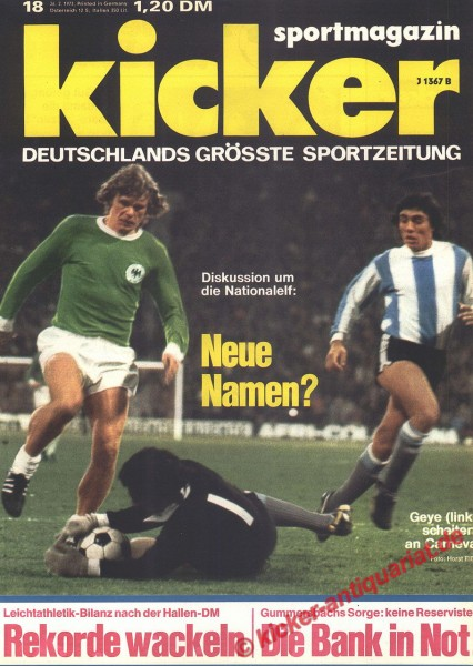 Kicker Sportmagazin Nr. 18, 27.2.1973 bis 5.3.1973