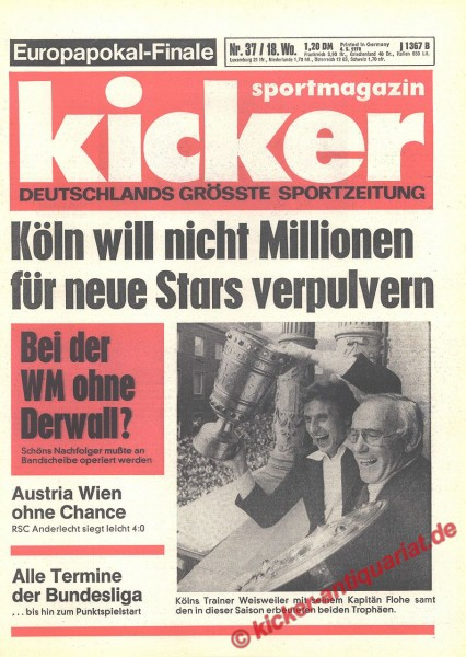 Kicker Sportmagazin Nr. 37, 4.5.1978 bis 10.5.1978