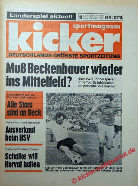 Kicker Sportmagazin Nr. 19, 28.2.1974 bis 6.3.1974
