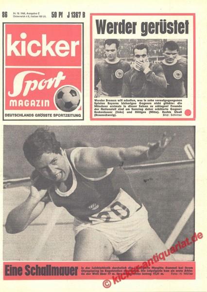 Kicker Sportmagazin Nr. 86, 24.10.1968 bis 30.10.1968