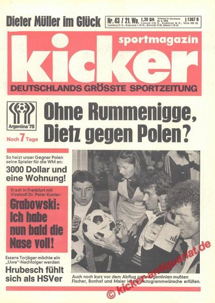 Kicker Sportmagazin Nr. 43, 25.5.1978 bis 31.5.1978