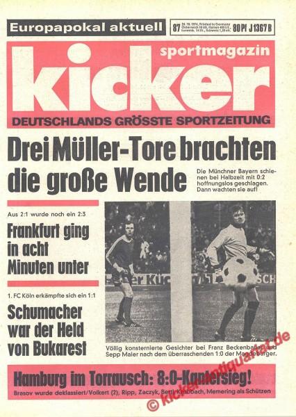 Kicker Sportmagazin Nr. 87, 24.10.1974 bis 30.10.1974