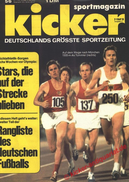 Kicker Sportmagazin Nr. 56, 10.7.1972 bis 16.7.1972