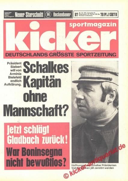 Kicker Sportmagazin Nr. 87, 28.10.1971 bis 3.11.1971