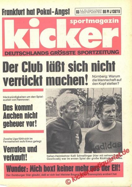 Kicker Sportmagazin Nr. 65, 8.8.1974 bis 14.8.1974