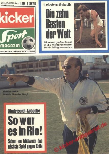 Kicker Sportmagazin Nr. 101, 16.12.1968 bis 22.12.1968
