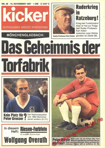 Kicker Sportmagazin Nr. 46, 13.11.1967 bis 19.11.1967
