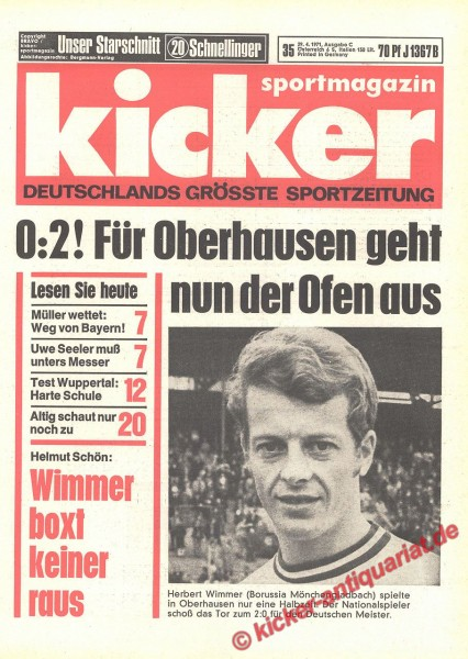 Kicker Sportmagazin Nr. 35, 29.4.1971 bis 5.5.1971