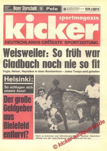Kicker Sportmagazin Nr. 65, 12.8.1971 bis 18.8.1971