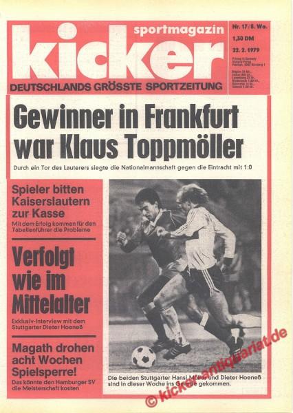 Kicker Sportmagazin Nr. 17, 22.2.1979 bis 28.2.1979